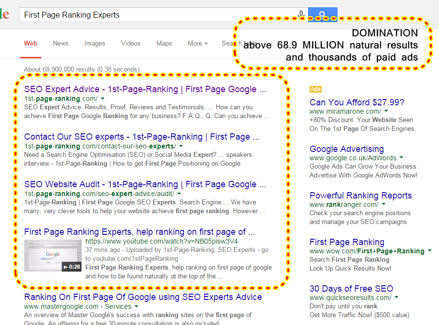 First Page Ranking Experts, above 68.9m and thousands of paid ads