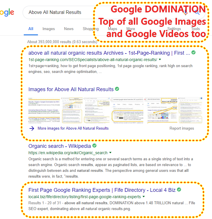 """Above All Natural Results"" Pretty chuffed to notice total Google DOMINATION above all Google organic results for Google Images and Google Videos too 1st-Page-Ranking.com Fife Business Directory and Discount Coupons"
